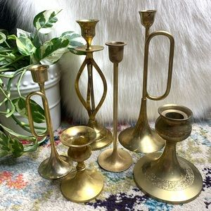 Candlesticks Vintage Distressed Patina Brass 6 Set